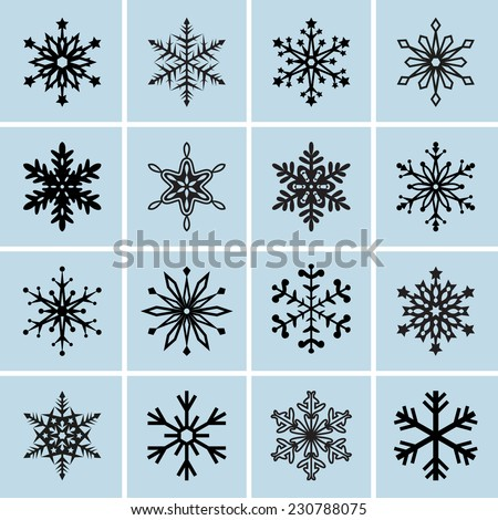 Snowflake icons. Vector symbols collection - stock vector