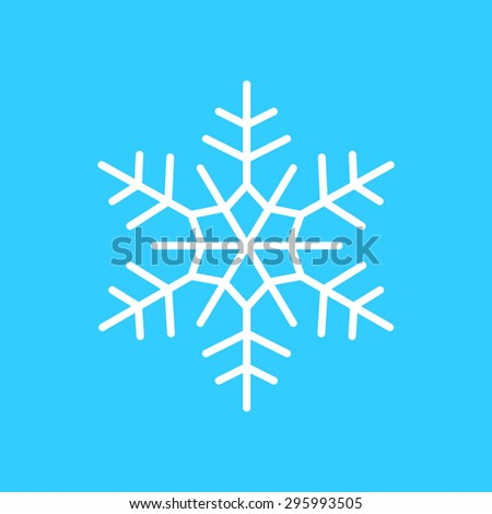 snowflake, Linear icon on a blue background