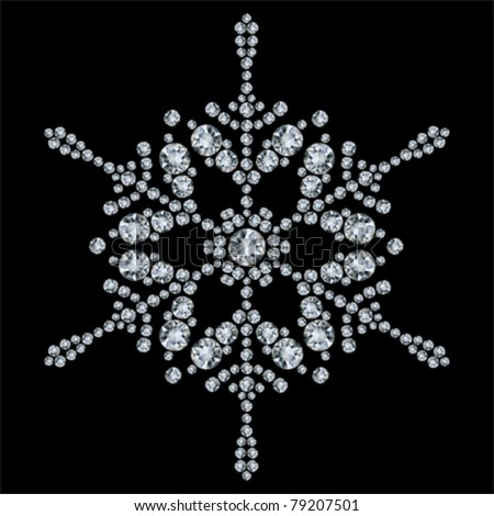 Snowflake made from diamonds. vector illustration