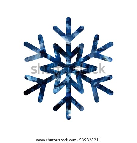 Snowflake mosaic icon. Blue silhouette snow flake sign isolated white background. Flat design. Symbol winter, frozen, Christmas, New Year holiday. Graphic element decoration. Vector illustration