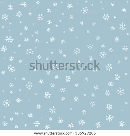 snowflake on winter gray sky background. Christmas vector pattern design for backdrop. - stock vector