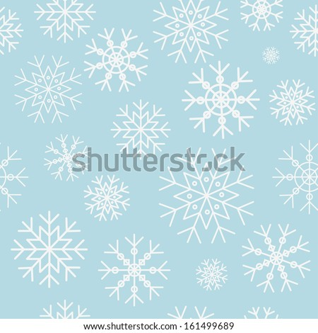 Snowflake pattern on a blue background - stock vector