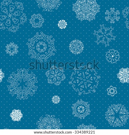 Snowflake Pattern. Snowflake vector texture. Christmas and new year concept