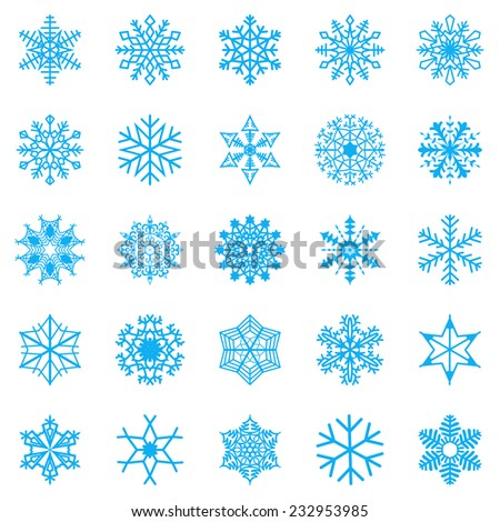Snowflake set for winter design. Vector illustration - stock vector