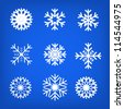 Snowflake set vector illustration - stock photo