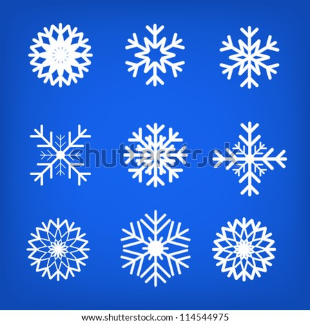 Snowflake set vector illustration - stock vector