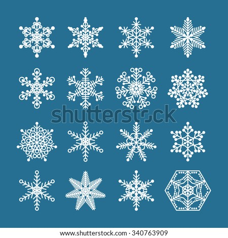 Snowflake set. White winter snowflake isolated on blue cover. Snowflake icon. Graphic snowflake for winter holiday card, invitation, book, poster, banner. Nature, winter and snow theme.  - stock vector