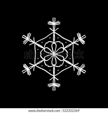 Snowflake Snow Christmas New Year Flat Icon On Black Background