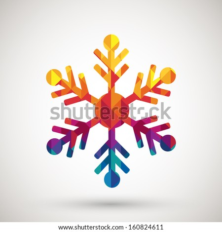snowflake symbol with colorful diamond, vector illustration. - stock vector