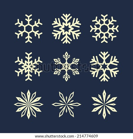snowflake symbols. vector set. eps8 - stock vector