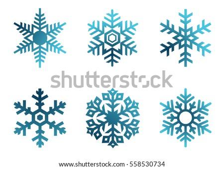 snowflake vector icon background set white stock vector 558530734