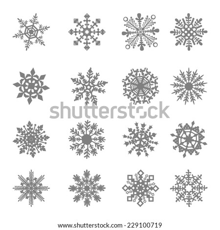 Snowflake Vector star white symbol graphic crystal frozen decoration - stock vector