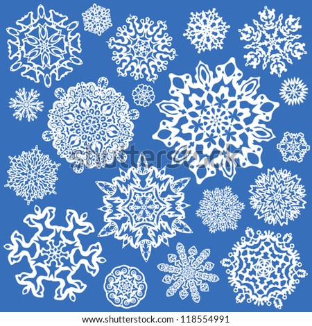 Snowflake Vectors. Set of 19 isolated elements on blue background.