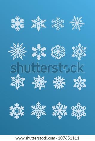 Snowflake winter set (vector ) - stock vector