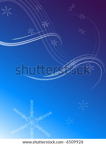 Snowflake Winter Sky Background - stock vector