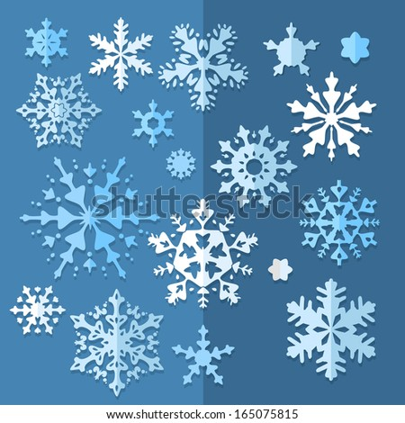 Snowflake Winter Vector set in retro simple colors for Christmas design. Decorative abstract snowflake of geometric shapes. Snowflakes icon collection