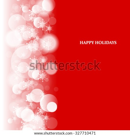 Snowflakes and Blurred Circles Christmas Background - stock vector