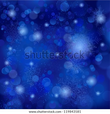 Snowflakes and blurry lights on dark blue background. Great backdrop for winter or Christmas themes. Space for your text. - stock vector