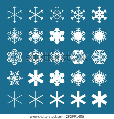 Snowflakes and snowflakes characters collection. EPS 10 vector illustration, no transparency - stock vector