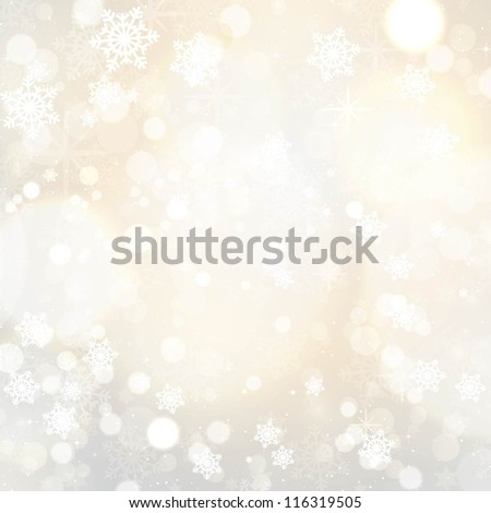 Snowflakes and stars Christmas background - stock vector