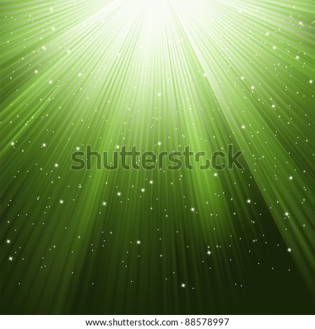 Snowflakes and stars descending on a path of green light. EPS 8 vector file included - stock vector