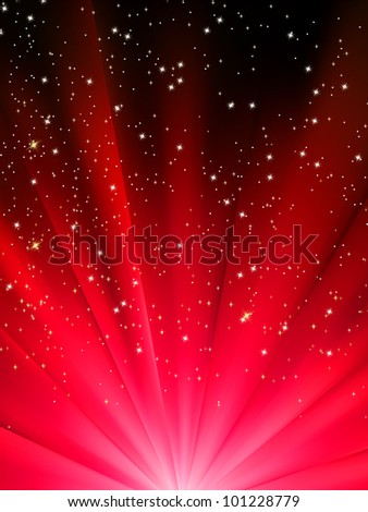 Snowflakes and stars descending on a path of red light. EPS 8 vector file included - stock vector