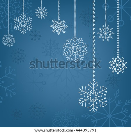 Snowflakes background, christmas and new year decoration for your design - stock vector