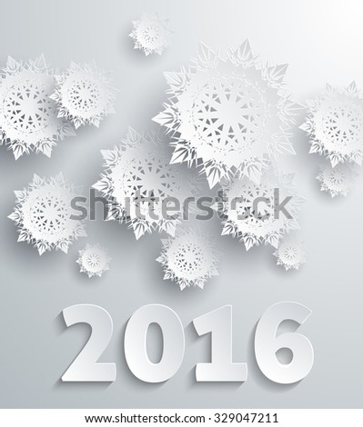 Snowflakes background for winter and new year, christmas theme. Snow, christmas, snowflake background, snowflake winter. 3D paper snowflakes. Happy New Year 2016. Silver snowflake. Snowflakes shadow - stock vector