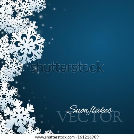 Snowflakes background with abstract falling snow - stock vector