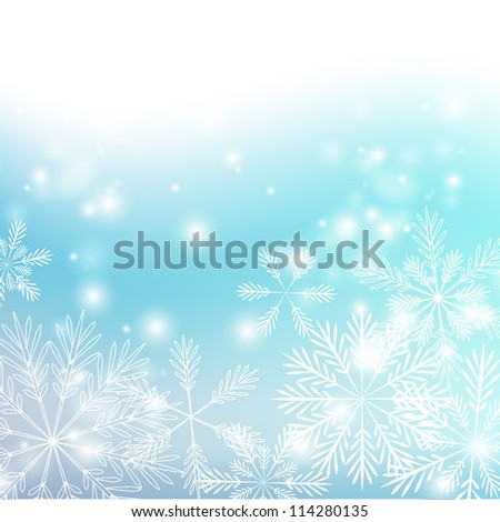 Snowflakes background with shiny lights - stock vector