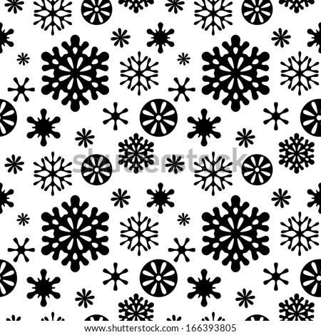 Snowflakes black and white seamless pattern (vector version) - stock vector