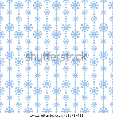 Snowflakes blue on a white background vector seamless pattern. Christmas background - stock vector