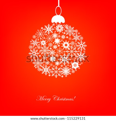snowflakes Christmas ball vector illustration - stock vector