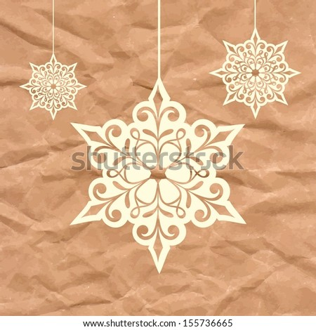 Snowflakes. Christmas card with hanging snowflakes. Christmas decoration on crumpled paper background. - stock vector