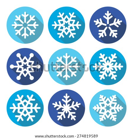 Snowflakes, Christmas flat design round icons - stock vector