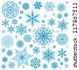 Snowflakes Christmas vector icons. Snow flake collection graphic art - stock photo