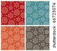 Snowflakes 4 colors seamless pattern - stock vector