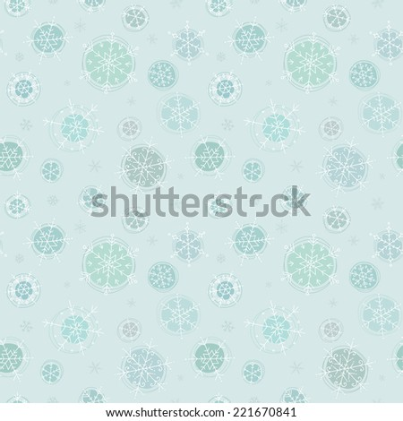 Snowflakes. Cute seamless pattern of snowflakes hand-drawn. Retro Christmas background. Can be used for greeting cards, wallpaper, fabric printing and scrapbooks. - stock vector