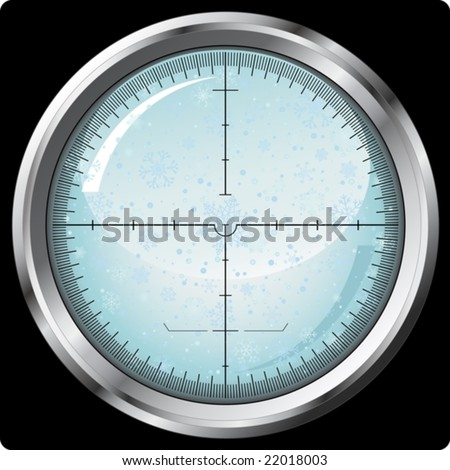 Snowflakes in sniper sight - vector - stock vector