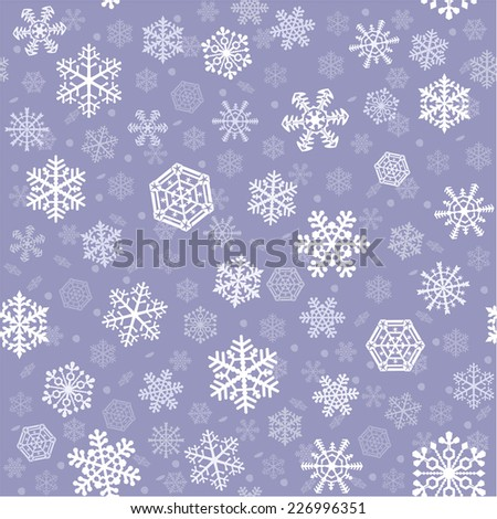Snowflakes of nine kinds arranged on bluish gray. Square tile of seamless background.