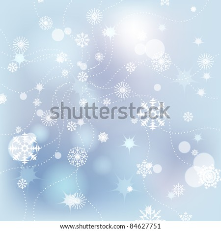Snowflakes on a light blue background. - stock vector