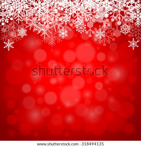 Snowflakes on red background detailed vector illustration - stock vector