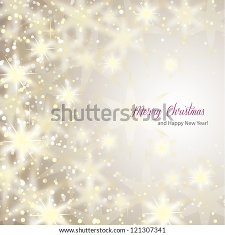 Snowflakes on Silver Background - Vector illustration. Light silver abstract Christmas background with white snowflakes - stock vector