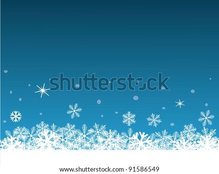 Snowflakes on the blue background - stock vector