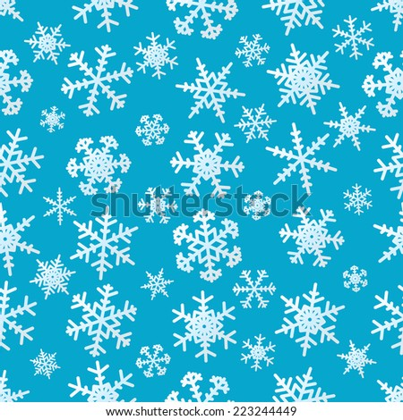 Snowflakes on the blue background seamless pattern for the winter, Christmas and New Year design, vector EPS8. - stock vector