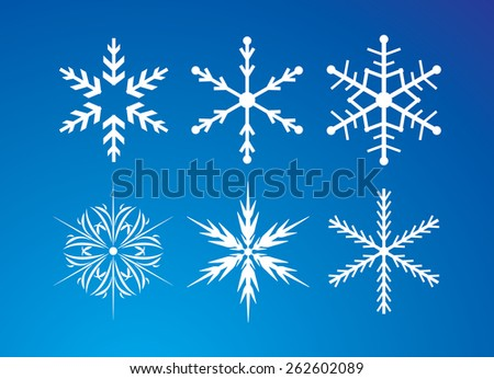 Snowflakes on the blue background. Vector illustration.