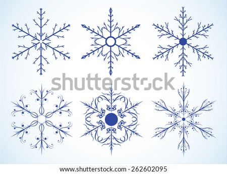 Snowflakes on the white background. Vector illustration.