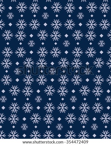 Snowflakes seamless pattern, snow background. Vector illustration. EPS 8 - stock vector