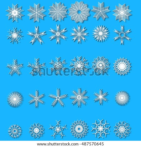 Snowflakes set. Background for winter and christmas theme. Vector illustration.