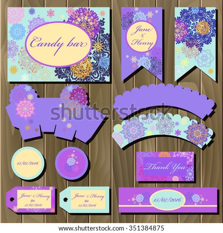 Snowflakes set of printable backgrounds to celebrate the party, birthday and wedding. Winter snowflakes design. Candy bar packaging.  Winter wrapping paper printable template. - stock vector